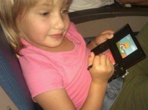 Z Playing Super Mario Brothers on the Flight to Saskatoon